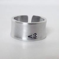 Personalize It- Hand forged wide curved and banded aluminum ring.