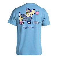 Retro Pup Short Sleeve Tee in Sky by Puppie Love