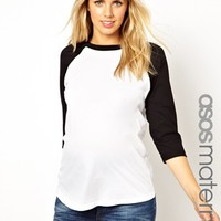 ASOS Maternity Oversized Baseball Top With 3/4 Sleeve