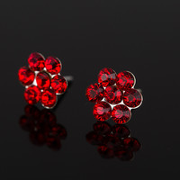 New FASHION sliver plated 6 color Crystal Flower Stud Earrings for Women #E136