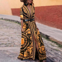 Versace Short Sleeve V-Neck Print Maxi Dress Casual Loose Women Bohemian Open Fork Beach Long Dress
