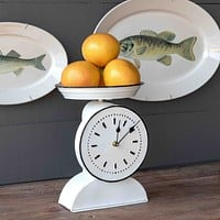 Vintage-Style Painted Grocer's Scale Clock, Set of 2