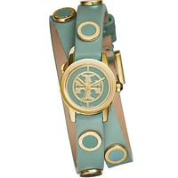 Tory Burch Reva Mini Studded Double-wrap Watch, Windsurf Green Leather/gold-tone, 20.5 Mm