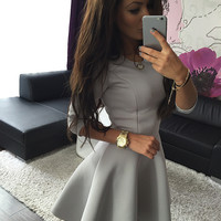 Three Quarter Sleeve Slim Ball Gown Pleated Mini Dress Fashion Women's Sexy High Waist Bodycon Mini Skater Dress Vestidos GV250