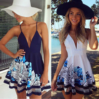 Sexy Women Summer V Neck Bodycon Casual Party Evening Cocktail Short Mini Dress