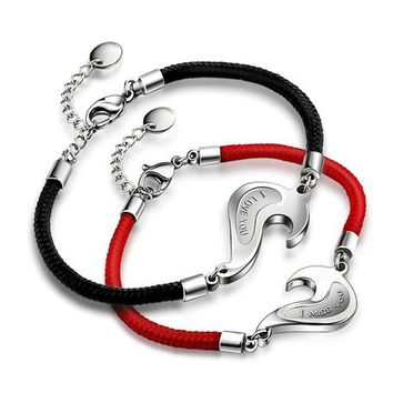 2 Piece Split Heart Couples Bracelets Set for Cheap Personalized Couples Jewelry | Occasions Uncommon Gifts | Unique Phone Cases | Worldwide Shipping