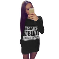 Hot Sale Women Dress Fashion Printed  Top Winter Casual Clothing Dress Mini Shift Dress Long T-shirt 1STL