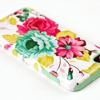 DandyCase 2in1 Hybrid High Impact Hard Pink Floral Pattern + Mint Green Silicone Case Cover For Apple iPod Touch 5 (5th generation) + DandyCase Screen Cleaner