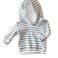 Organic Baby Hoodie Gray Stripes