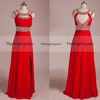 Elegant Red Beading Round Neck Criss Cross Back Empire Line Side Split Long Prom evening Gowns,Bridesmaid dress,senior prom,evening dresses