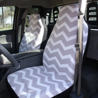 1 Set of Seat Cover, Grey and White Chevron Print Custom Made.
