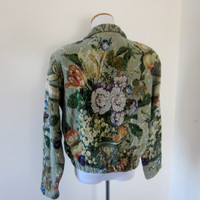 Vintage Tapestry Jacket Floral Cropped Jacket USA Womens Size S  Shawl Collar Carpet Jacket