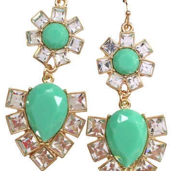 Mint Jeweled Earrings