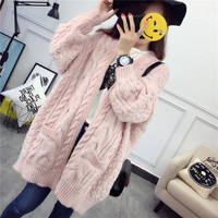 Fashion Solid Color Thickened Cardigan Jacket Loose  blouse top