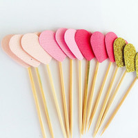 Love heart cupcake toppers - ombre pink to gold, wedding, baby shower, bridal shower, engagement, first birthday