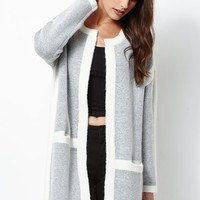 Kendall & Kylie Open Front Coatigan - Womens Sweater - Gray/White