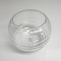 Clear Wave Glass Fish Bowl, 7-inch x 5-inch