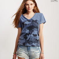 Tokyo Darling Camo Clouds V-Neck Graphic T