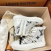 Louis Vuitton LV new high-top net yarn letter printing ladies casual shoes sneakers