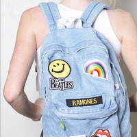 Tumblr Denim Backpack With Patches
