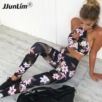 Floral Printed Woman Yoga Sets Sports Bra + Leggings Female Sportswear for Running Jogging Fitness Workout Clothing Sports Suit