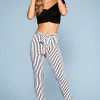 Elsbeth Stripe Highwaist Crop Pants - White