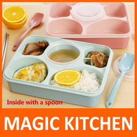 Magic Kitchen 5 plus 1 Sealed Microwaveable Lunch box with spoon bento box For kids School Office with simplicity fresh style