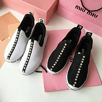 Miu Miu Newest Trending Women Stylish Diamond Sports Shoes Sneaker