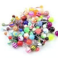 Surgical Steel 14g 50 Assorted Acrylic Ball Belly Button Ring Navel Bar Barbell Piercing Kit +1 Retainer