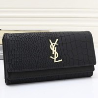 YSL Fashion Women Metal Logo Leather Buckle Wallet Purse(9-Color) Black I