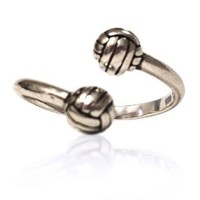 Volleyball Sterling Silver Ring Adjustable Sized