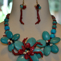 Exotic Turquoise Flower Necklace and Earrings Set