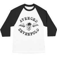 Avenged Sevenfold Men's  Classic Deathbat Baseball Jersey Black/White