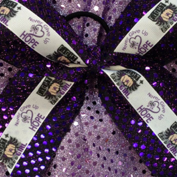 Purple Breast Cancer Awareness Cheer Cheerleading/Dance Ribbon Bow