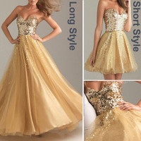 Lady BEADED Homecoming Evening Formal Prom Gown Party Cocktail Bridesmaid Dress