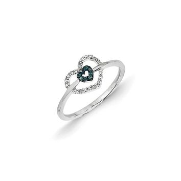 14k White Gold Blue and White Diamond Double Heart Ring