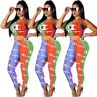 Champion Summer Sexy Women Print Sleeveless Vest Top Pants Trousers Set Two-Piece