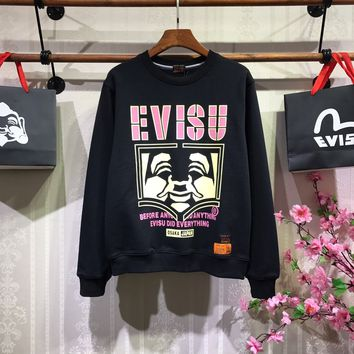 """Evisu"" Men Casual Fashion Embroidery Letter Cartoon Pattern Round Neck Long Sleeve Sweater Tops"