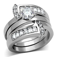 Round & Baguette CZ Stainless Steel Wedding Ring Set