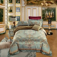 Cool Luxury jacquard cotton stain Bedding Set  4/6Pieces King Queen Size bedroom Duvet Quilt Cover Set Bedspread set PillowcasesAT_93_12
