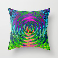 Psychedelic Journey of Colours Throw Pillow by Webgrrl