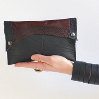 Cowhide Leather Clutch - Steampunk Leather Clutch - OOAK Leather Clutch Wallet