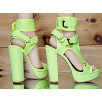 "Bella Luna Neon Yellow Lime 5.5"" Chunky High Heel Harness Strap Shoe 6-10"