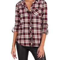 Black, White, and Red All Over Flannel - Red/Gray - Red/Gray /