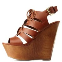 Tan Caged Lace-Up Wooden Platform Wedges by Charlotte Russe