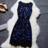 Embroidered sequined lace dress AFAJDG