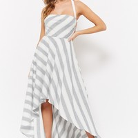 Striped Lace-Up Back High-Low Dress