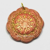 Gold and Red Pearl Vintage-Style Ceramic Pendant