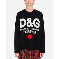 Dolce&Gabbana Autumn Winter Popular Women Casual Heart Pattern Long Sleeve Round Collar Sweater Top Sweatshirt