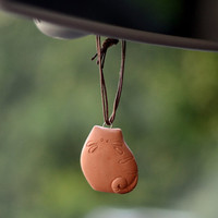 Ceramic powder car Air Freshener  - Hand made Scent diffuser - The Chubby Cat